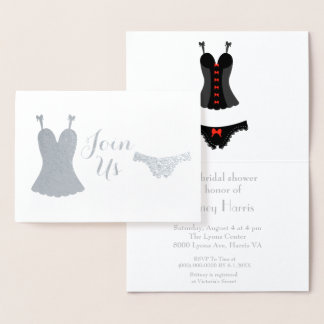 Lingerie design bridal shower foil card