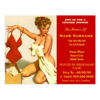 lingerie,lingerie showe,lingerie shower invitation postcard