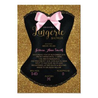 Lingerie shower bachelorette invitation gold