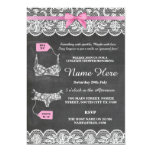 Lingerie Shower Bridal Party Pink Bow Lace Invite