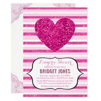 Lingerie Shower Bridal Party Pink Glitter Heart Card
