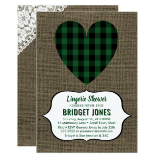 Lingerie Shower Bridal Party Rustic Country Heart Card