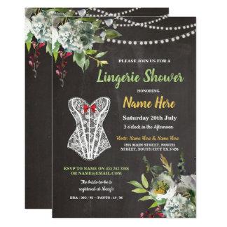 Lingerie Shower Chalk Corset Flowers Invite