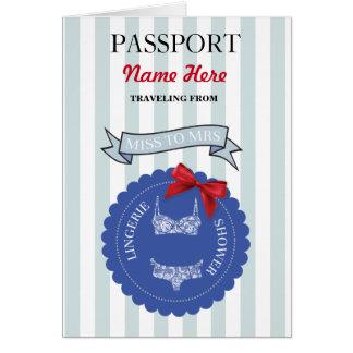 Lingerie Shower Passport Blue Red Plane Invite Card
