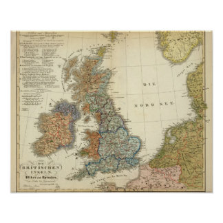 Linguistic map of British Isles Poster