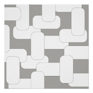 Linked Grey & White Poster