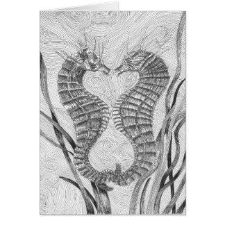 Linked Seahorses Blank Note Card