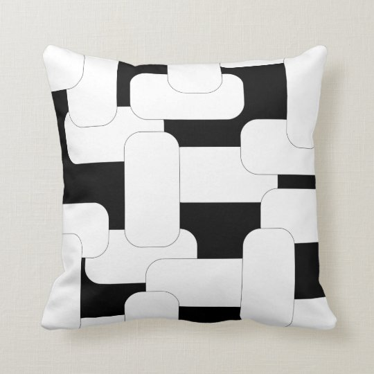 Linked White & Black Throw Pillow