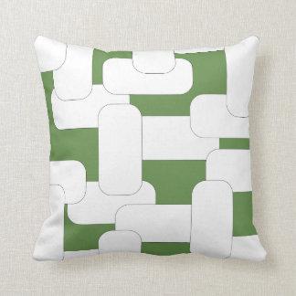 Linked White & Green Throw Pillow