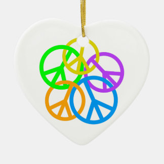LINKING PEACE SIGNS CERAMIC ORNAMENT