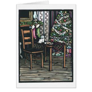 Linocut:  Christmas Tree and Santa Note ByKen Swan Card