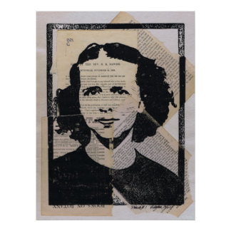 Linoleum Block Print Mixed Media Collage Darla #1