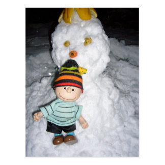 linus and snow postcard