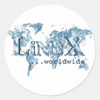 Linux dans le monde entier sticker rond