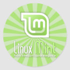 Linux Mint Green Starburst Classic Round Sticker
