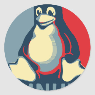 Linux tux penguin classic obama poster classic round sticker