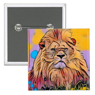 Lion 2 Inch Square Button