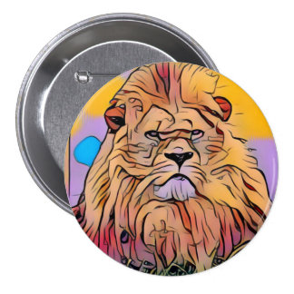 Lion 3 Inch Round Button