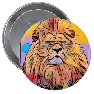 Lion 4 Inch Round Button