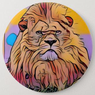 Lion 6 Inch Round Button