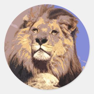 Lion africain autocollants ronds
