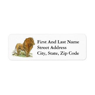 Lion African Cat Golden Mane Cartoon Return Address Label