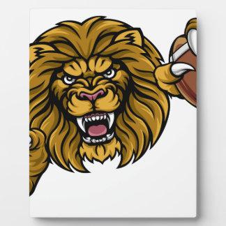 Lion American Football Ball Sports Mascot Plaque