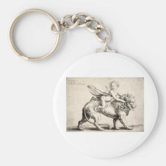 lion and cherub basic round button keychain