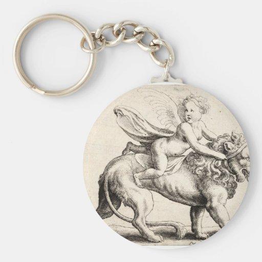 lion and cherub key chains