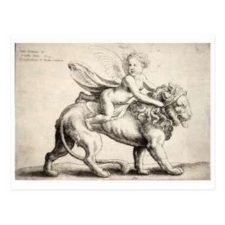 lion and cherub postcard