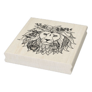 Lion And Flowers Doodle Rubber Stamp