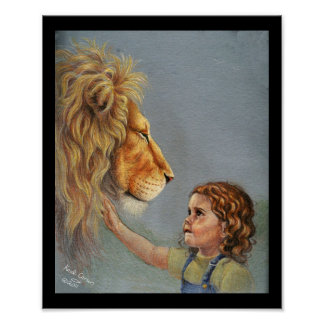 Lion and girl poster