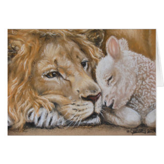 Lion and Lamb by TACS 5x7 greeting card