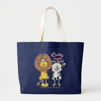Lion and Lamb Heart Patches Large Tote Bag