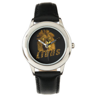 Lion And Lion Logo, Kids Black Leather Watch. Watch