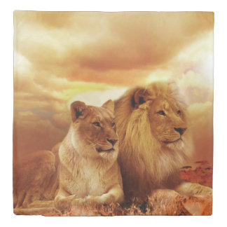 Lion and Lioness Duvet Cover