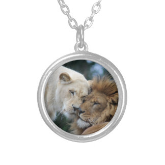 Lion and Lioness Silver Plated Necklace