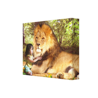 Lion and Little Girl Canvas Print