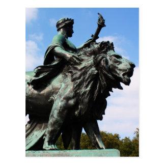 Lion and man statue postcard