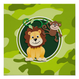 Lion and Monkey; bright green camo, camouflage Poster