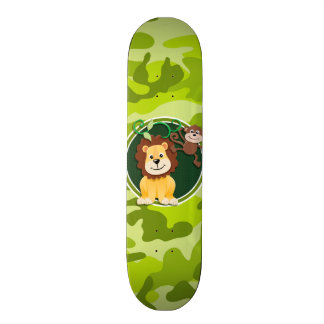 Lion and Monkey bright green camo camouflage Skate Decks