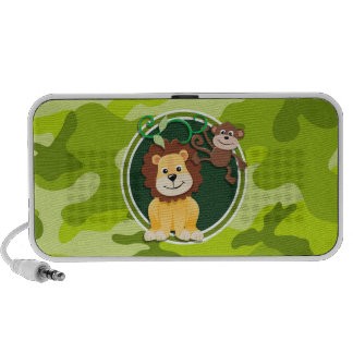 Lion and Monkey; bright green camo, camouflage Laptop Speaker