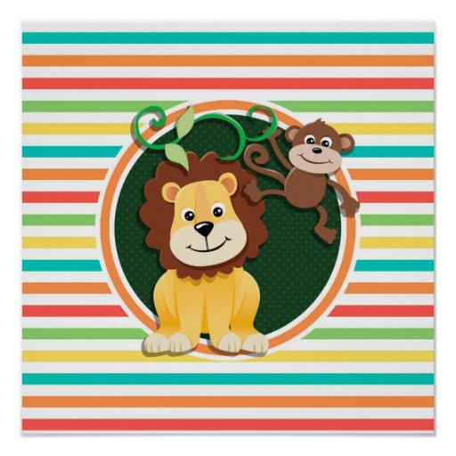 Lion and Monkey; Bright Rainbow Stripes Poster