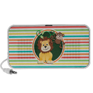 Lion and Monkey; Bright Rainbow Stripes Mini Speaker