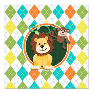 Lion and Monkey on Colorful Argyle Pattern Invite