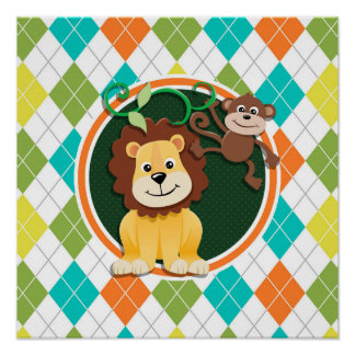 Lion and Monkey on Colorful Argyle Pattern Posters