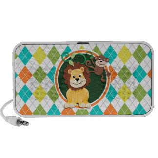 Lion and Monkey on Colorful Argyle Pattern Mp3 Speaker