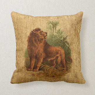 Lion and Palm Trees Vintage Throw Pillow