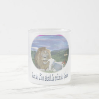 Lion and the lamb christian gifts 10 oz frosted glass coffee mug