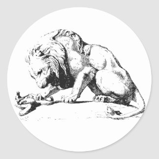 Lion And The Serpent Classic Round Sticker